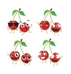 Funny cherries - isolated cartoon emoticons vector