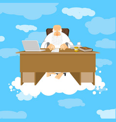 God sitting in office almighty of work place in vector