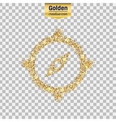Gold glitter icon of compass isolated on vector