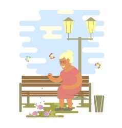 Grandma on a bench vector image vector image