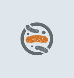 gray-orange lactobacillus round icon vector image vector image