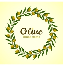 Green olive branches wreath vector