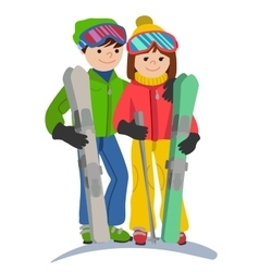 Happy couple of young people man and woman funny vector image