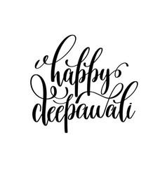 happy deepawali black calligraphy hand lettering vector image