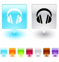 headphones square button vector image