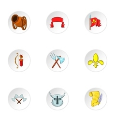Knight icons set cartoon style vector image