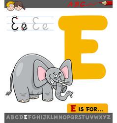 Letter e with cartoon elephant vector