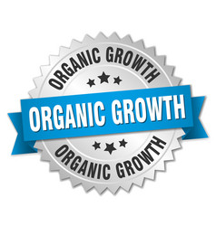 Organic growth round isolated silver badge vector