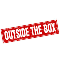 Outside the box square stamp vector
