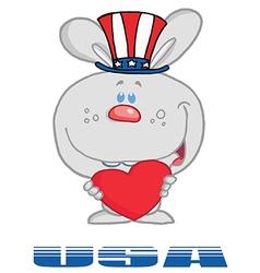 Patriotic rabbit cartoon vector image vector image