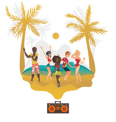 people dancing at beach party on tropical island vector image vector image