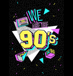poster in 80s-90s memphis style vector image
