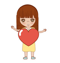 pretty girl with heart in the hand and dress vector image vector image