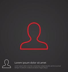 Profile outline symbol red on dark background logo vector