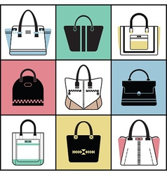 Purse icon set vector