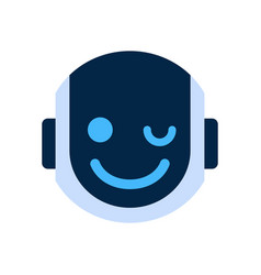 Robot face icon smiling face wink emotion robotic vector