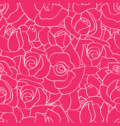 Seamless pattern with line roses vector