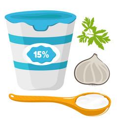 sour creamwooden spoon vector image vector image