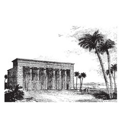 Temple restored vintage engraving vector