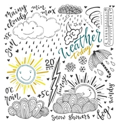 Weather doodles icon set Hand drawn sketch vector image