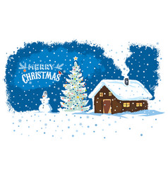 winter countryside landscape with a house snowman vector image
