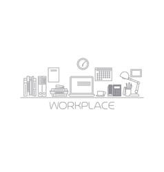 Workplace mono color line vector image vector image