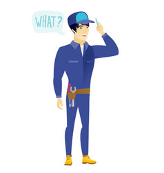 mechanic with question what in speech bubble vector image