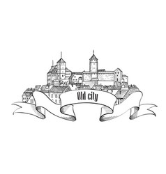 Old city sign isolated downtown view medieval vector