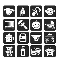 Silhouette baby and toys icons vector