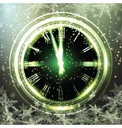 Old clock holiday lights at new year midnight vector