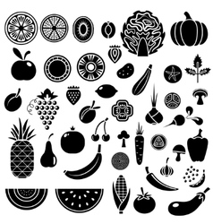 Silhouette of fruits and vegetables vector