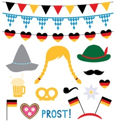 Oktoberfest photo booth and design elements vector
