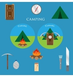 Outdoor objects set camping icons vector