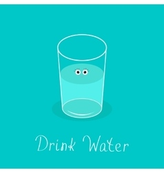 Cute glass with eyes drink water infographic vector