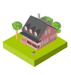Isometric 3d icon pictograms house with a mailbox vector