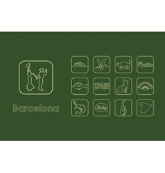 Set of barcelona simple icons vector