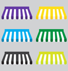 Awning color striped set for store element design vector