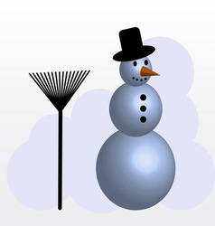 Snowman with broom vector