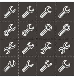 Settings wrench icon set vector image
