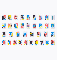Alphabet poster font design set of numbers and vector