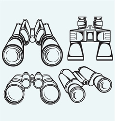 Binoculars set icon vector