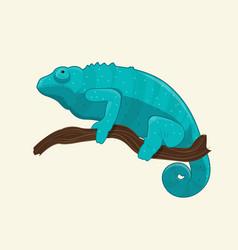 blue chameleon on branch vector image vector image