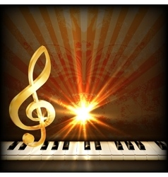 bright musical background with a treble clef and vector image vector image