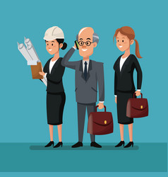 Business man with women employee work team labor vector