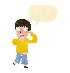 cartoon frightened boy with speech bubble vector image vector image