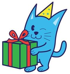 Cat bring gift vector