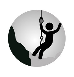 Circular frame with man climbing a rope vector