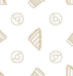 Coffee paper cup donut sandwich outline seamless vector