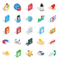 Data icons set isometric style vector