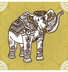 elephant and mehendi ornament vector image